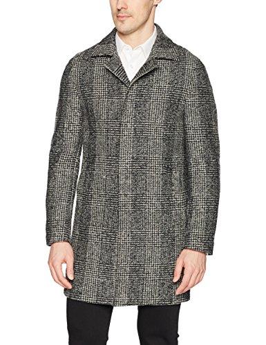 (DKNY Men's Slim Fit Wool Blend Coat, Black/White Pattern 42 Long)