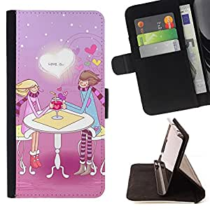 - Cute Love Couple - - Monedero PU titular de la tarjeta de cr????dito de cuero cubierta de la caja de la bolsa FOR Samsung Galaxy S4 IV I9500 RetroCandy