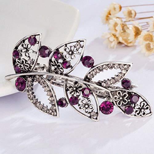 Fashion Women Girls Bling Headwear Crystal Rhinestone Hair Clip Hairpin Barrette (ColorID - #01_Purple)