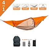 flying tent: 4 Functions in 1 Product      This unique ALL-IN-ONE hammock tent, bivy tent, hammock, and rain poncho is suitable for a short break outdoors, as well as for tours in different terrain. You can use it as a hammock tent between tw...