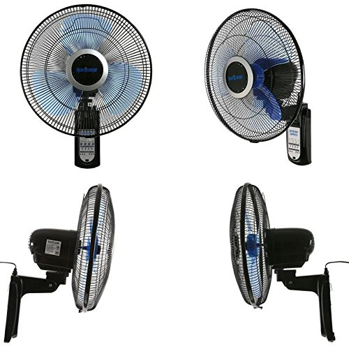 SD LIFE Wall Mounted Fan Oscillating 16 Inch 3 Speed Remote Control Indoor Outdoor Black by SD LIFE