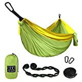 Gold Armour Camping Hammock - XL Double Parachute Camping Hammock (2 Tree Straps 16 LOOPS/10 FT Included) Lightweight Nylon Portable Hammock, Best Parachute Double Hammock (Green/Yellow)