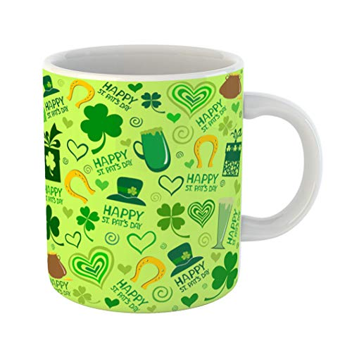 Emvency Funny Coffee Mug Green Lucky St Patrick's Day Shamrock Abstract Beer Celebration Clover Flower 11 Oz Ceramic Coffee Mug Tea Cup Best Gift Or Souvenir