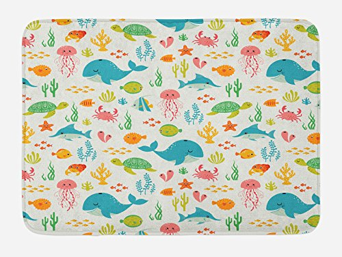 Lunarable Cartoon Bath Mat, Underwater Animals Aqua Marine Life with Crabs Sea Stars Fish Illustration, Plush Bathroom Decor Mat with Non Slip Backing, 29.5 W X 17.5 W Inches, Teal Green Yellow by Lunarable
