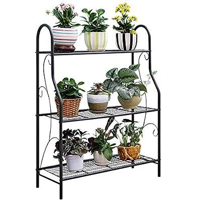 "MORINN 3 Tier Metal Plant Stand Scrollwork Design Indoor and Outdoor Flower Rack, Home Storage Organizer Shelf, 27.9""x9.6""x32.6"""