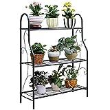 MORINN 3 Tier Metal Plant Stand Scrollwork Design Indoor and Outdoor Flower Rack, Home Storage Organizer Shelf, 27.9'x9.6'x32.6'