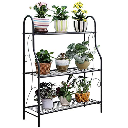 Outdoor Plant Stand - MORINN 3 Tier Metal Plant Stand Scrollwork Design Indoor and Outdoor Flower Rack, Home Storage Organizer Shelf, 27.9