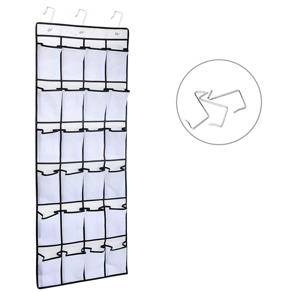 Awekris Shoe Bags for Closet Doors, Over The Door Hook 24 Large Mesh Pockets Non-Woven Fabric Storage Bag for Closet Pantry Kitchen Accessory with 3 Metal Hooks Space Saving Solution (White)