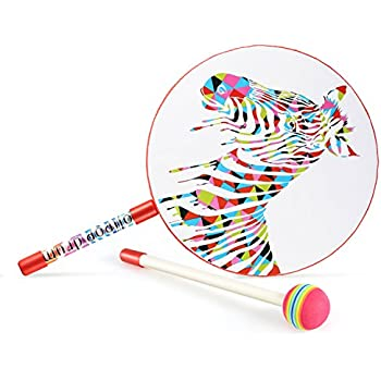 """Lollipop Drum with Mallet , Glonova 10"""" Kids Percussion Paddle Drum, Musicial Instruments Rhythm Toys for Baby"""
