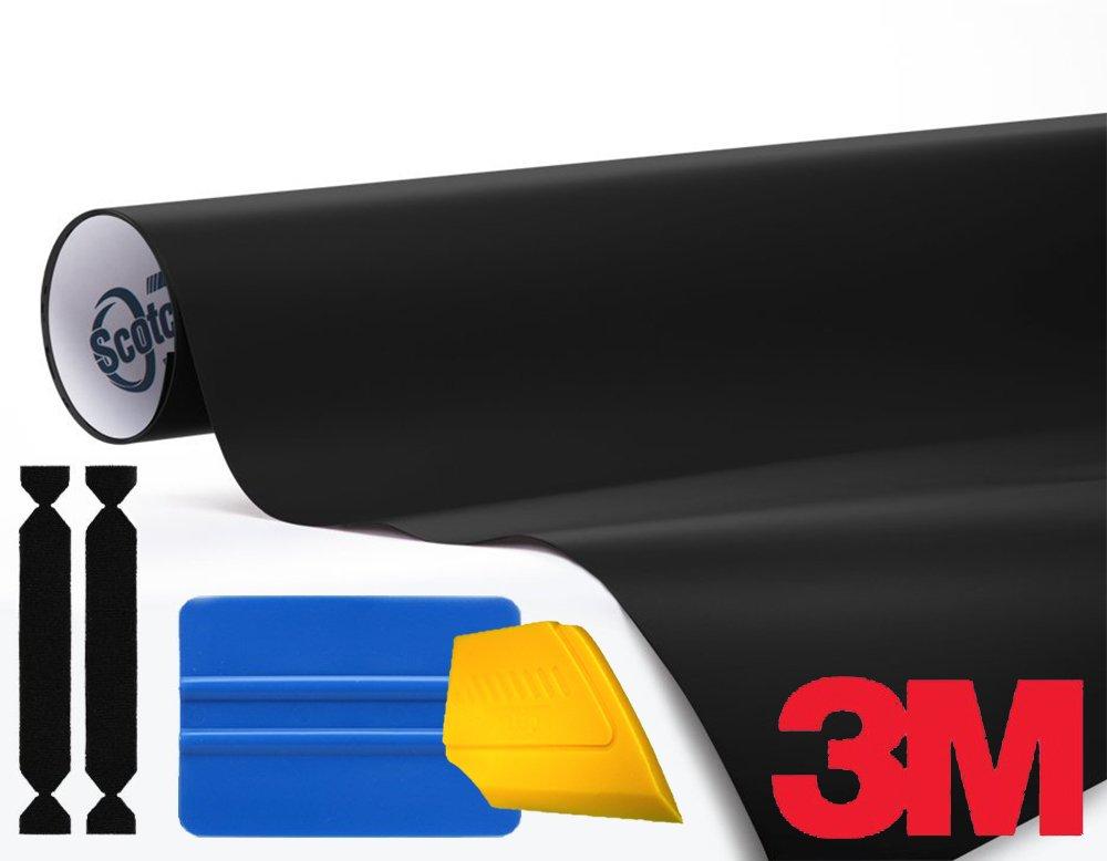 3M 1080 Satin Black Air-Release Vinyl Wrap Roll Including Toolkit (75ft x 5ft)
