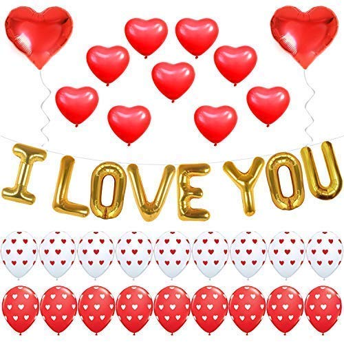 Valentine Decorations I LOVE YOU - Balloons Kit, Pack of 35 - Heart Shape Latex Balloons - Heart Print Latex Balloons - Valentines Day Decorations - Heart Foil Balloon Red and White Valentine Balloons]()