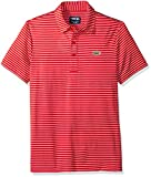 Lacoste Men's Short Sleeve Jersey Raye with Fine Stripes and Button Front Placket Polo, DH3358, White/Red, Large