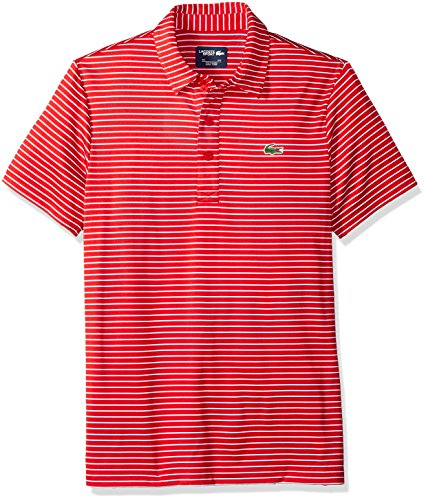 (Lacoste Men's Short Sleeve Jersey Raye with Fine Stripes & Button Front Placket Polo, DH3358, White/Red, Large )