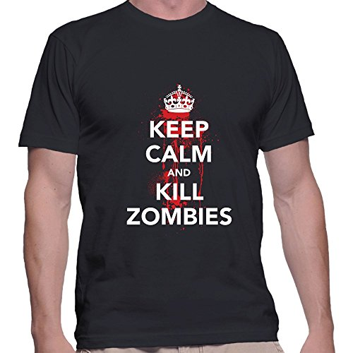 [GullPrint Men's Halloween Keep Calm And Kill Zombies T Shirt X-Large Black] (Witch Coustumes)