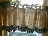 Handmade Tie Up Valance Window Treatment (Valance) (Burlap cafe style red gingham 2 tires of ruffles)