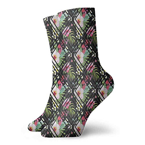 Street Style Sock Tropical,Geometric Style Botanic 3.4