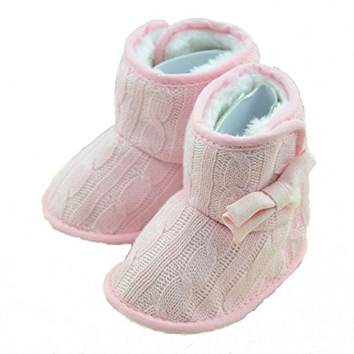 Baby Girls Bowknot Winter Snow Boots (Pink) - 7