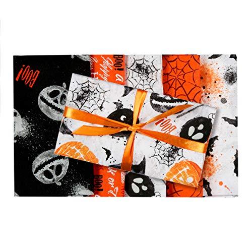 3 Wishes Fabric Boo Halloween Fat Quarter Bundle 5 Piece Fabric, -