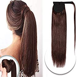 Wrap Ponytail Extensions Remy Human Hair Wrap Around Pony Tail Hairpiece for Women 20 Inch One Piece #4 Medium Brown
