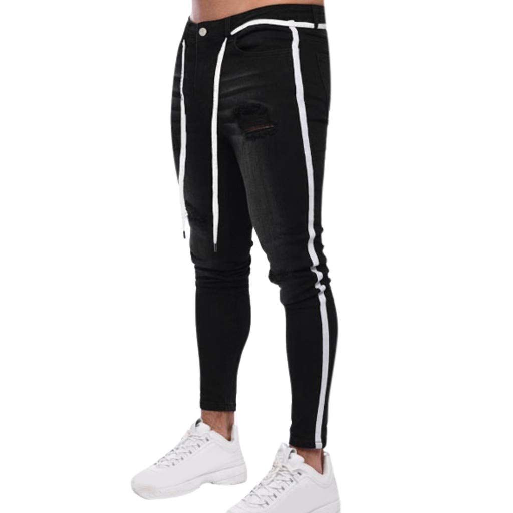 Men's Stretch Skinny Jeans | Men Fashion Slim Fit Ripped Destroyed Side Striped Denim Pants | Casual Bike Skate Board Tapered Trousers by Leadmall