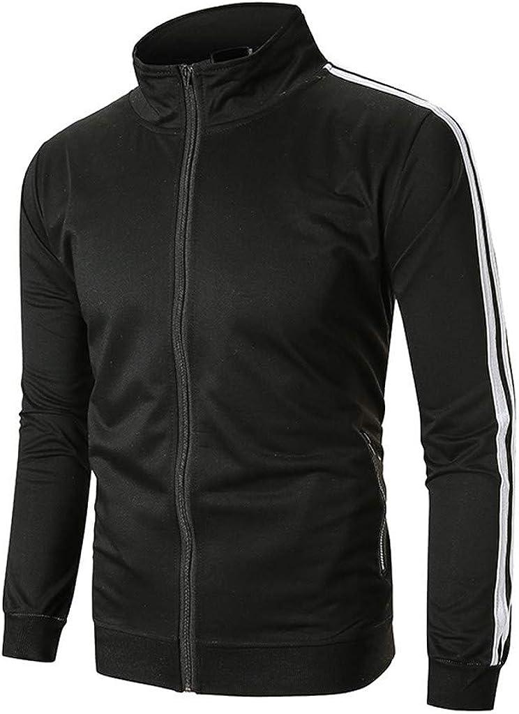 Mens 2 Piece Outfit Autumn Casual 2 Stripe Full Zipper Hoodies Sweatshirt /& Pants Sets Active Sport Suit Tracksuit