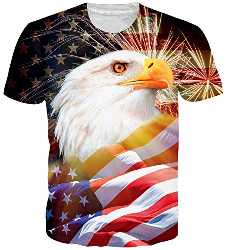 Loveternal Unisex Animal Bird T-Shirts USA Graphic Print Tees Dad Dry 90s Raw T Shirts Fourth July Outfit Novelty 4th of July Clothes Short Sleeve Flag Day T Shirt Tees for Womens Mens XL ()
