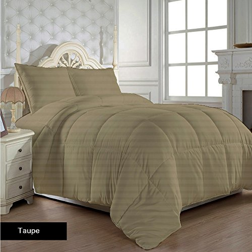 (Luxury 350 Thread Count 100 GSM Fiber Fill 1pc Comforter RV Champer Short Queen Size, Taupe Stripe 100% Egyptian Cotton)