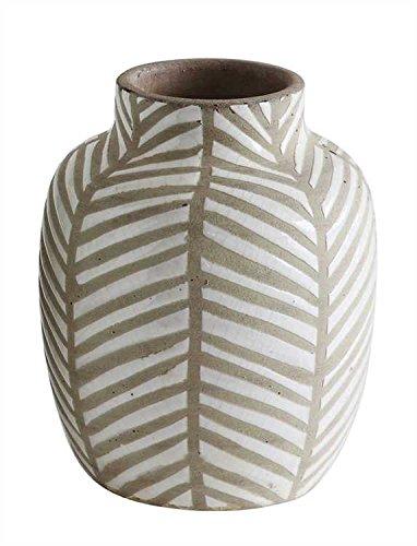 Small White Herringbone Terra Cotta Vase - Set Of 3