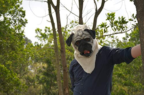 Dress Up Mask Animal Mask Popular Handmade Fur Halloween Pug Mask Moving Mouth Animal Party Mask for Christmas Easter Carnival Costume Parties Tag Party Night Club Animal Head Mask Game Mask ()