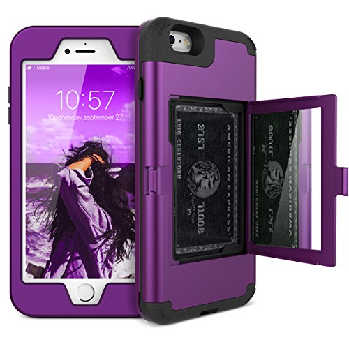 iPhone 6 Plus / 6s Plus Wallet Case - WeLoveCase Defender Wallet Case with Hidden Back Mirror and Card Holder Heavy Duty Protection Shockproof Armor Protective Case for iPhone 6S Plus - Purple