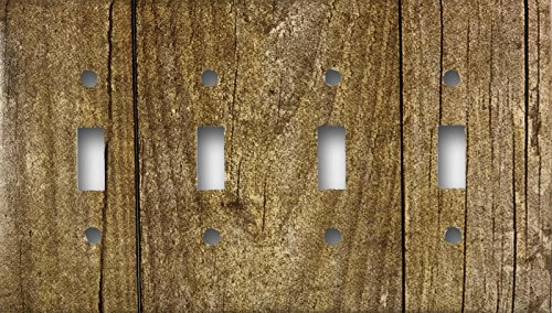 Barn Wood Design Quad Four Toggle Light Switch Wall Plate - Quad Wall Light