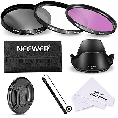 Neewer Filtro de 55 mm de la Lente Kit de Accesorios para Canon Nikon Sony Samsung Fujifilm Pentax: UV/CPL/FLD Filtro, la Bolsa, la Capilla de Lente, Tapa del Objetivo, pano de Limpieza