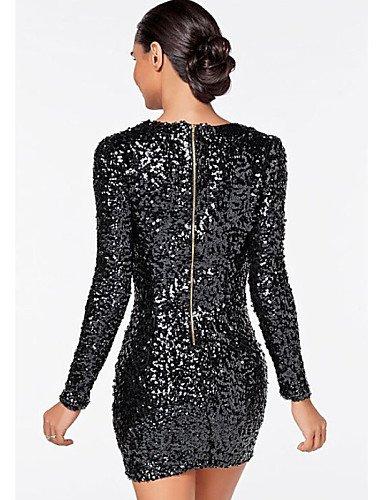 PU&PU Robe Aux femmes Gaine Sexy,Mosaïque Col en V Mini Coton , black-s , black-s