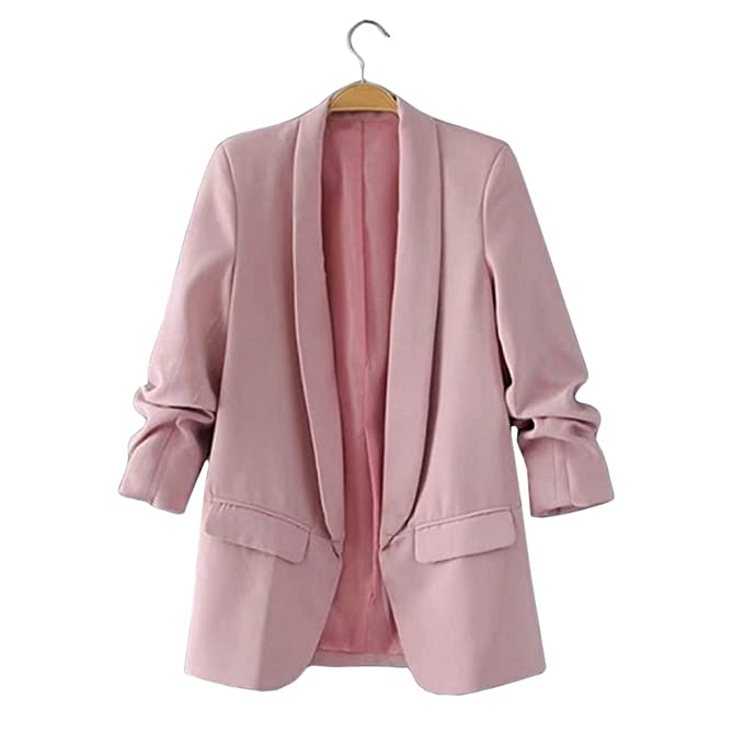 HeLov Women Plain Shawl Collar Lapel Blazer Long Sleeve ...