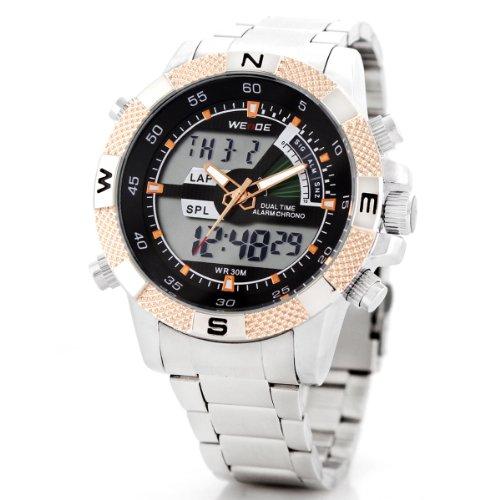 Alienwork Lumi LED Analog-Digital Armbanduhr Chronograph Uhr Multi-funktion schwarz silber Edelstahl OS.WH-1104-G