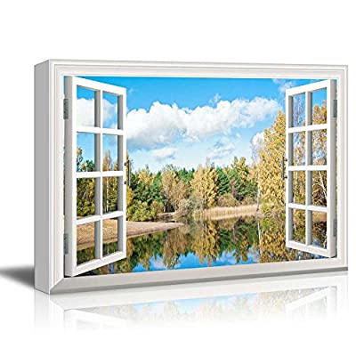 Window Peering into a Forest in Autumn with a Lake 24