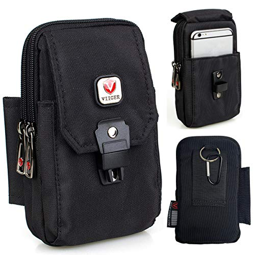 (VIIGER Multipurpose Vertical Nylon Smartphone Pouch with Belt Loop Cell Phone Holster Belt Pouches for Men Waist Bag Pack Carry Pouch Compatible for iPhone Xs Max X Xr 6 6s 7 8 Plus Galaxy S8 S9 S10+)