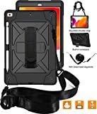 PC Hardware : New iPad 10.2 2019 Case,UZER Heavy Duty Shockproof Anti-slip Kickstand Silicone Rugged Three Layer Armor Protective Case with Pencil Holder&Shoulder Strap for iPad 10.2 inch 7th Generation(2019 Model)