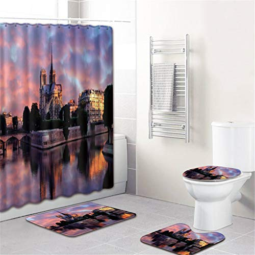 Jessie storee 4PCS Notre Dame de Paris Shower Curtain Bathroom Mat Set Dry and Wet Separation Non Slip Toilet Pad Cover Bath Mat Toilet Cover Seat Rug Weighted Hem Raincoat Waterproof Technology, N ()