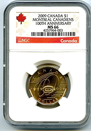 2009 CANADA MONTREAL CANADIENS 100th ANNIVERSARY LOONIE RARE DOLLAR LOON $1 MS66 (2009 Canadian Maple Leaf)