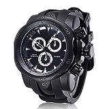 C-Xka Men's Fashion Three-dimensional tricyclic Big dial Silicone Band Quartz Wrist Watch (Color : E)
