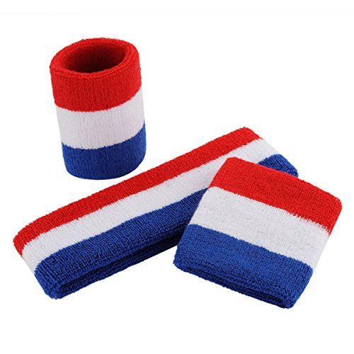 ONUPGO Sweatband Set Sports Headband Wristband Set Sweatbands Terry Cloth Wristband Wrist Sweatband Headbands Moisture Wicking Sweat Absorbing Head Band 3