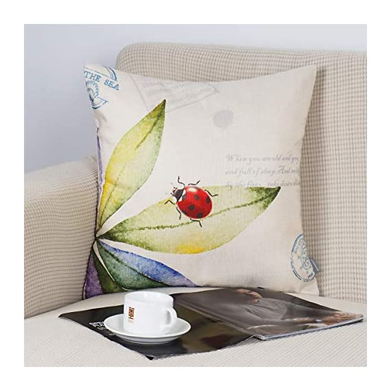 "ONWAY Outdoor Garden Decoration Bee/Butterfly/Dragonfly/Ladybug Pillow Case Leaf/Lavender/Flower Decorative Throw Pillow… - MATERIAL: 100% handmade and made of environment-friendly material and fabric--50% Cotton + 50% Linen COLOR&SIZE: Sand-like color ( Not white) bee ladybug throw pillow covers are 18 x 18 inches (standard decorative throw pillow cover size 45 x 45 cm) and can be used with 18"" x 18"" or 20"" x 20"" pillow inserts. WIDELY USED: Makes the perfect accent on a couch, sofa, chair, window seat or bed. It also makes a perfect housewarming or birthday gift. - patio, outdoor-throw-pillows, outdoor-decor - 51 n1wITCmL. SS570  -"
