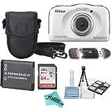 Nikon COOLPIX S33 White Waterproof Digital Camera + Extra Battery, 64GB Memory Card + Liquid Deals cloth + Accessory Bundle