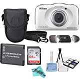 Nikon COOLPIX S33 White Waterproof Digital Camera + Extra Battery, 64GB Memory Card + Liquid Deals cloth + Accessory Bundle