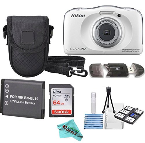 Nikon COOLPIX S33 White Waterproof Digital Camera + Extra Battery, 64GB Memory Card + Liquid Deals cloth + Accessory Bundle by Liquid Deals