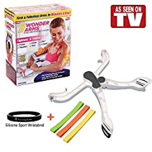 Wonder Arms Resistance Exercise Band - Arm Upper Body Workout Machine & Strengthens Arms Biceps Shoulders Chest Back - As Seen On TV (VISDOM Silicone Sport Wristband Included)