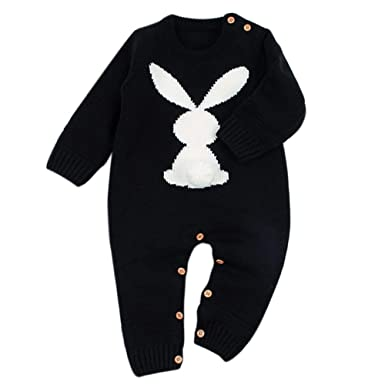 8f1cbff9d14a BOBORA Newborn Winter Jumpsuit, Baby Girls Boys Long Sleeve Knitted Rompers  Bodysuits Infants Cute Rabbit One-Piece Winter Warm Clothes Playsuits ...