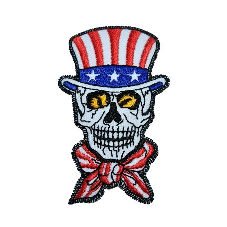 R2K American Flag Head Death Skull Ghost Skeleton Embroidered Sew Iron on Patch