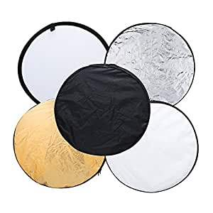 TOMTOP 24 60cm 5 in 1(Gold, Silver, White, Black and Translucent) Portable Photography Studio Multi Photo Disc Collapsible Light Reflector